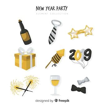 Coleção de elementos de festa de ano novo