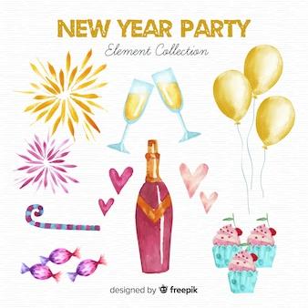 Coleção de elementos de festa lindo ano novo em aquarela