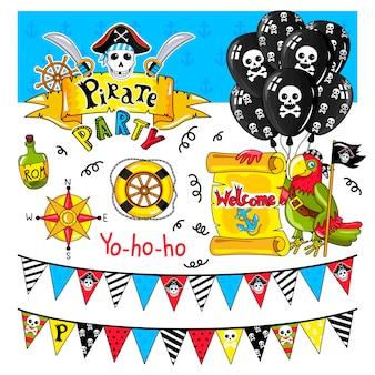 Coleção de elementos de festa pirata