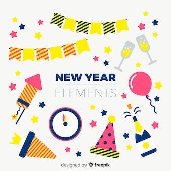 Coleção de elementos de festa plana de ano novo