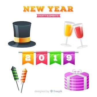 Coleção de elementos de festa realista de ano novo