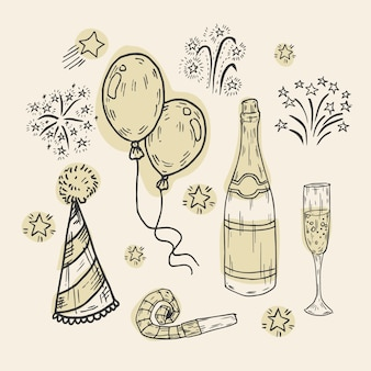Coleção de elementos de festa vintage ano novo