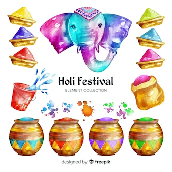 Coleção de elementos de festival de aquarela holi