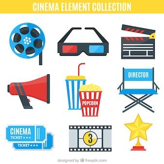 Coleção de elementos de filmes no design plano