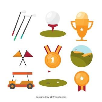 Coleção de elementos de golfe planos