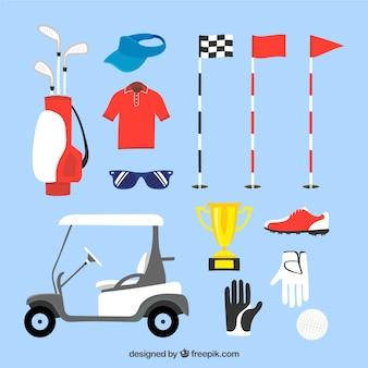 Coleção de elementos de golfe