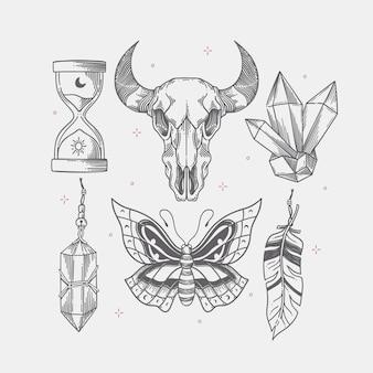 Coleção de elementos de gravura boho