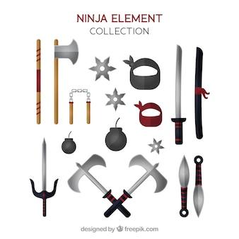 Coleção de elementos de guerreiro ninja com design plano