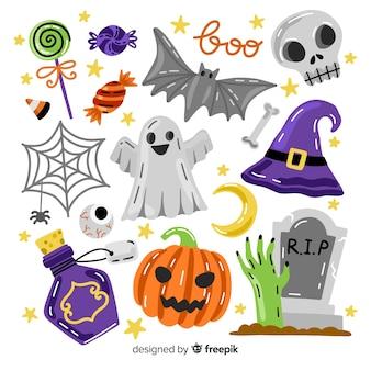 Coleção de elementos de halloween com acessórios assustadores