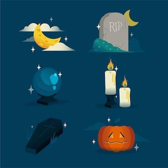 Coleção de elementos de halloween de design plano