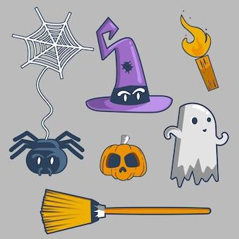 Coleção de elementos de halloween desenhada à mão