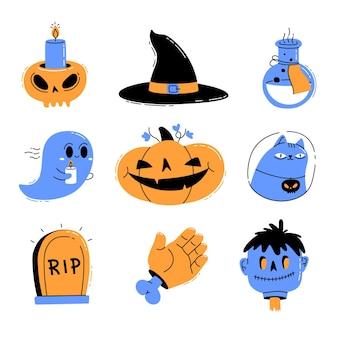 Coleção de elementos de halloween desenhada