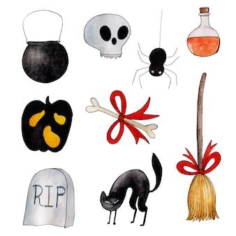 Coleção de elementos de halloween em aquarela