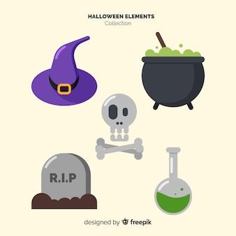 Coleção de elementos de halloween em design plano