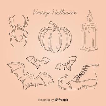 Coleção de elementos de halloween na mão desenhada estilo
