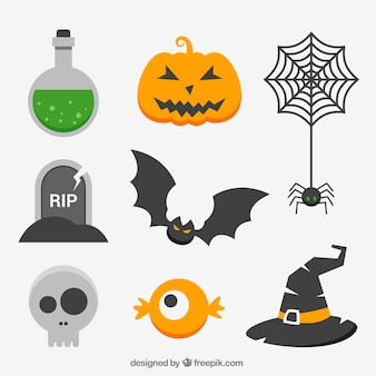 Coleção de elementos de halloween no design plano