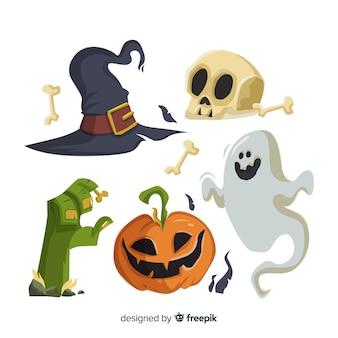 Coleção de elementos de halloween plana fundo branco