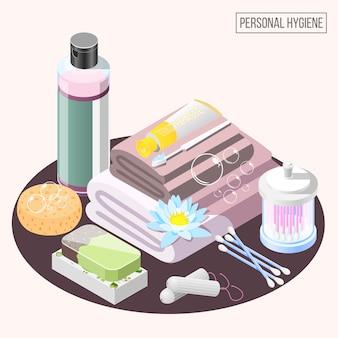 Coleção de elementos de higiene pessoal