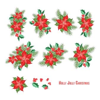 Coleção de elementos de holly jolly christmas.