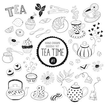 Coleção de elementos de hora do chá