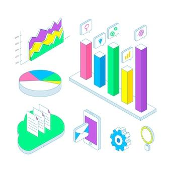 Coleção de elementos de infográfico de contorno isométrico