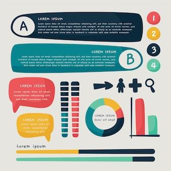 Coleção de elementos de infográfico de estilo desenhado à mão