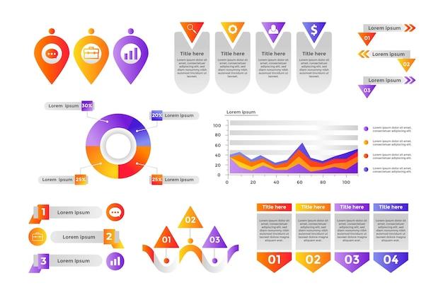 Coleção de elementos de infográfico de gradiente
