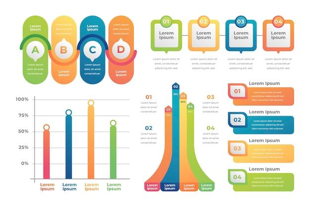 Coleção de elementos de infográfico de gradiente Vetor grátis