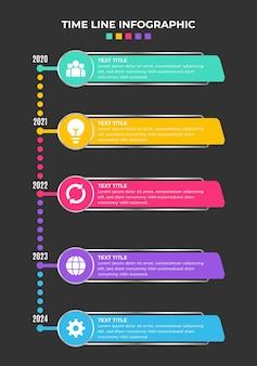 Coleção de elementos de infográfico de linha de tempo gradiente
