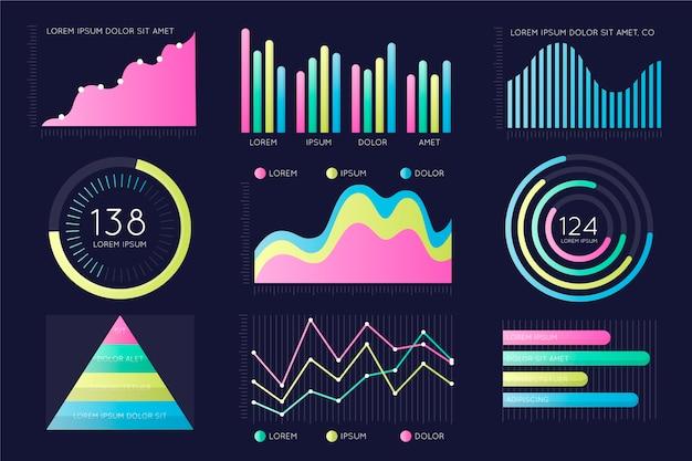 Coleção de elementos de infográfico de painel