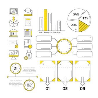 Coleção de elementos de infográfico desenhado à mão