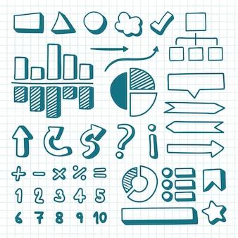 Coleção de elementos de infográfico desenhados