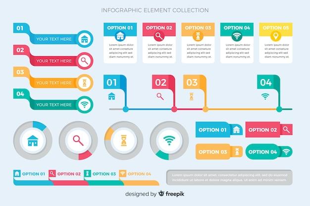 Coleção de elementos de infográfico design plano