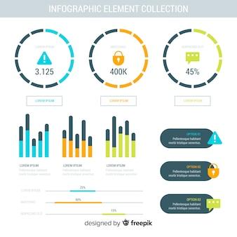 Coleção de elementos de infográfico em design plano