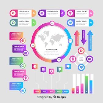 Coleção de elementos de infográfico gradiente