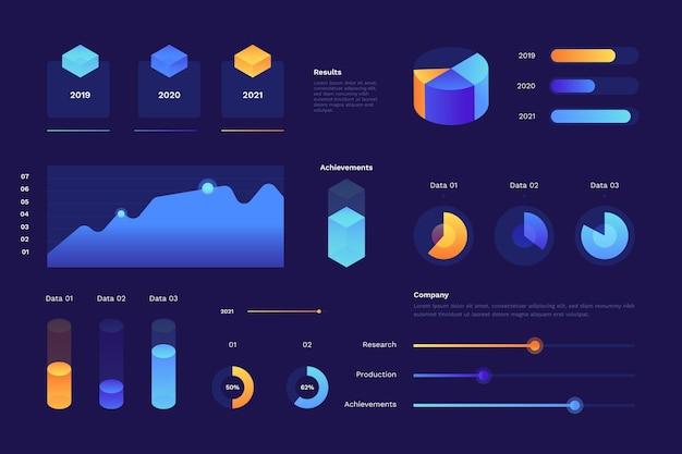 Coleção de elementos de infográfico isométrico