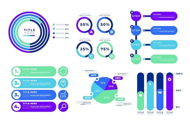 Coleção de elementos de infográfico plano