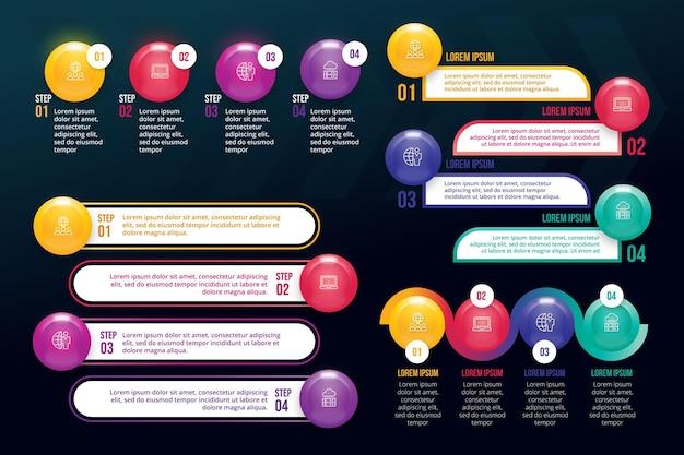Coleção de elementos de infográfico realista
