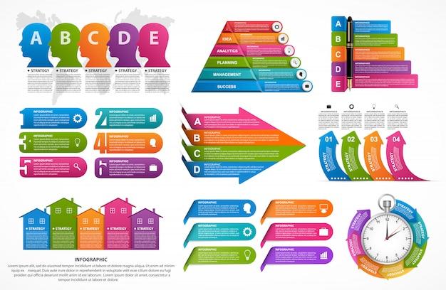Coleção de elementos de infográfico.