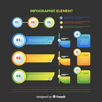 Coleção de elementos de infográficos de gradiente