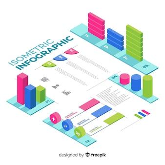 Coleção de elementos de infográficos isométrica