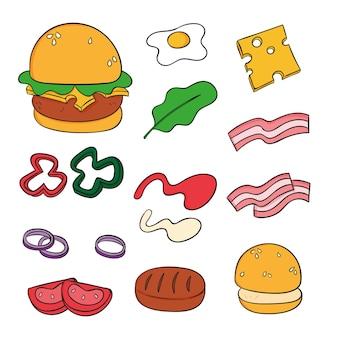 Coleção de elementos de ingredientes de hambúrguer disponível em estilo de desenho
