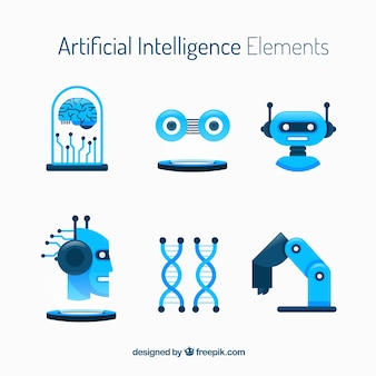 Coleção de elementos de inteligência artificial em estilo simples