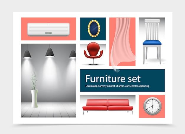 Coleção de elementos de interiores de casas realistas com ar condicionado, cadeiras, cortina, relógio, sofás, lâmpadas e ilustração de plantas de casa,