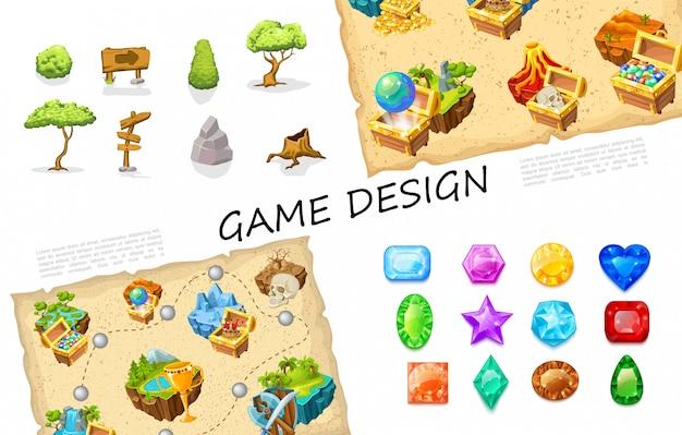 Coleção de elementos de jogo dos desenhos animados com árvores placas pedras arbusto baús de tesouro vulcão natureza ilhas crânio nível design arma pedras preciosas coloridas