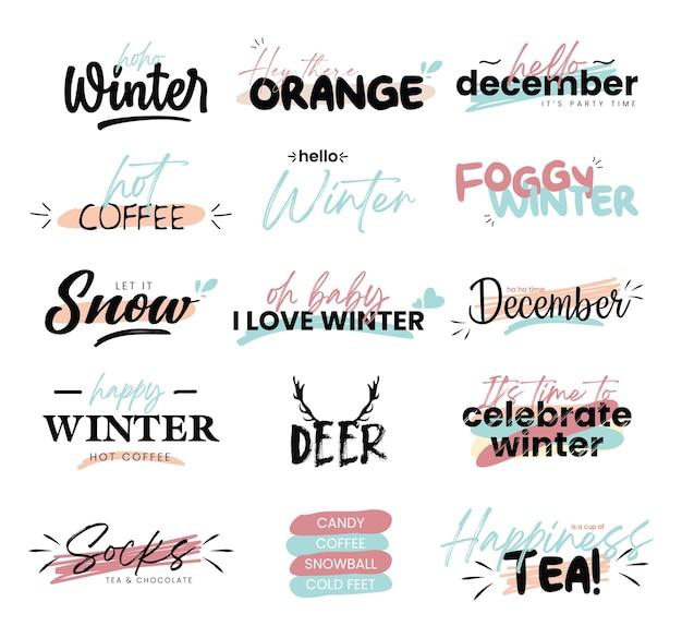 Coleção de elementos de letras hello winter