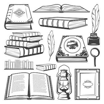 Coleção de elementos de livro vintage com livros diferentes