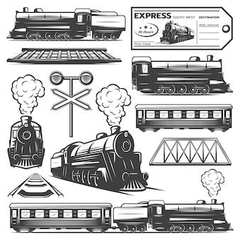 Coleção de elementos de locomotiva monocromática vintage