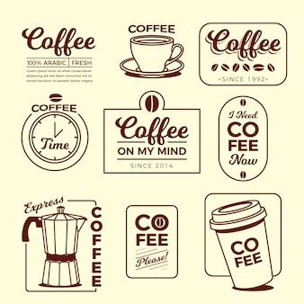 Coleção de elementos de logotipo mínimo de café