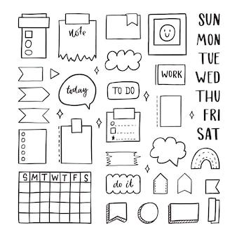 Coleção de elementos de marcador de diário